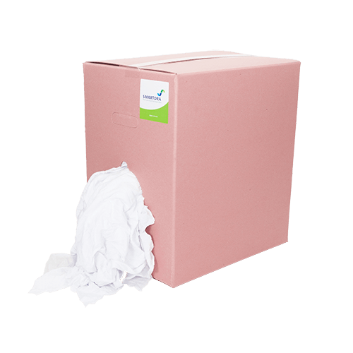 Bleached White Hosiery Rags Wipers Box